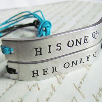 Set of 2 Bracelet Friendship His One Her Only COUPLES Best Friends Hand Stamped Name Tie On Hemp Cord