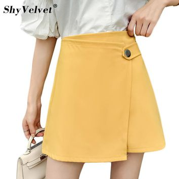 Womens Irregular Skirt Mini Summer New A Line Skirts Harajuku Office Ladies Elegant Split High Waist Skirt Yellow Black XXL