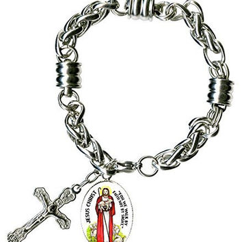 "Jesus Christ We Walk by Faith Charm & Cross Stainless Steel 7"" to 8"" Bracelet"