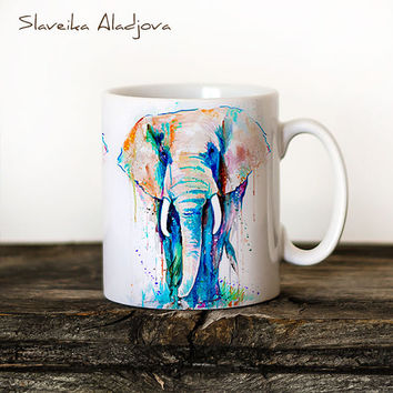 Elephant Mug Watercolor Ceramic Mug Elephant Unique Gift Coffee Mug Animal Mug Tea Cup Art Illustration Cool Kitchen Art Printed mug