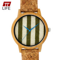 TTLIFE Unique Stripe Fabric Dial Watch Women Leather Band Blue Pointer Wooden Case Ladies Dress Quartz Watches Relogio Feminino