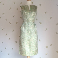 1960's Brocade Dress / Green + Gold / Wiggle Dress / by Maggi Stover / 60s Vintage