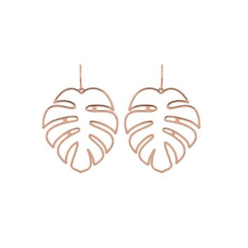Monstera Palm Leaf Openwork Earrings (Gold or Silver)
