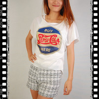 Pepsi Cola Punk Rock Vintage Women Top Wide Crop Fashion T-shirt Free Size