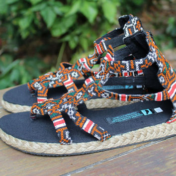 Womens Gladiator Sandals In Honey Hmong Embroidery Summer Shoes Isadora