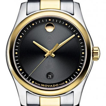 Movado Sportivo Men's Stainless Steel Black Museum Dial Minute Track Date Display Two Tone Watch 0606483
