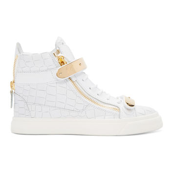 Off-White Croc-Embossed London High-Top Sneakers
