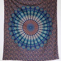 Magical Thinking Paisley Medallion Tapestry - Turquoise One