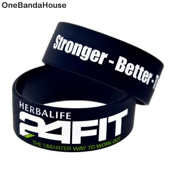 OneBandaHouse 25pcs/Lot 1 Inch Wide Fitness Wristband 24 Hour Fit Stronger Better and Together Motivational Silicone Bracelet