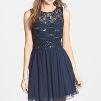 Junior Women's Speechless Embellished Lace Bodice Skater Dress,