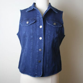 50 off SALE vintage 90s grunge punk denim vest// M by vtgvintage