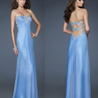 Sweetheart light blue prom dress Crystal Beading Chiffon Sequins Pleated Long Prom Dresses/Evening gown/Wedding/cocktail/for­mal dress