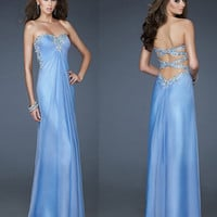 Sweetheart light blue prom dress Crystal Beading Chiffon Sequins Pleated Long Prom Dresses/Evening gown/Wedding/cocktail/formal dress