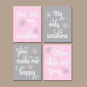 PINK GRAY You Are My Sunshine Wall Art, CANVAS or Prints, Baby Girl Nursery, Song Rhyme Quote Decor, Girl  Set of 4 Decor, Gift for Girl