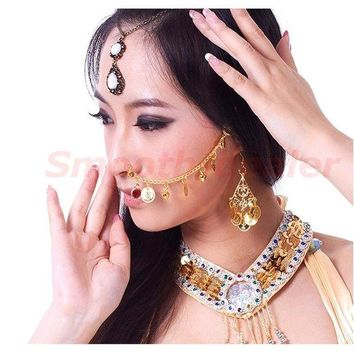 ac DCCKO2Q Hot Sale New Studs Gold Nose Chains For Belly Dance Dancing Jewelry