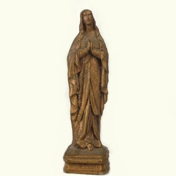 Gilt Virgin Mary Figurine, Small Vintage Resin Madonna Statue, Religious Catholic Icon, Christian Collectible, Gothic Shrine Decor