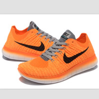 Nike free RN flynit running sneakers Sport Casual Shoes Sneakers Orange-grey black hook