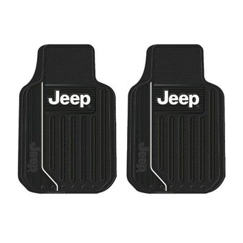Licensed Official Brand New Jeep Elite Gray Tan Black Car Truck All Weather Ruuber Floor Mats Set