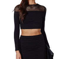 Sheer Fishnet Long Sleeve Crop Top in Black