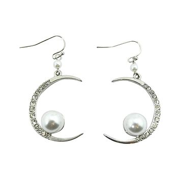 Cresent Moon with Imitation Pearl Accent Dangle Earrings