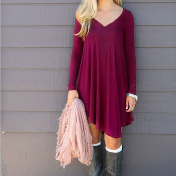 Autumn Winter Dress Female Cotton O-neck Long Sleeve Mini Woolen Dresses