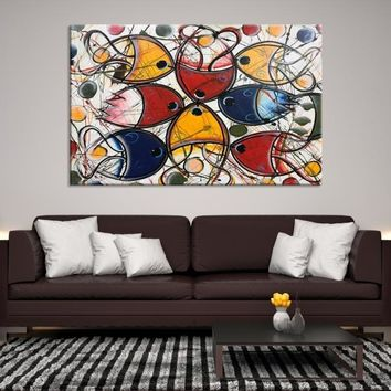 95463 - Large Abstract Wall Art Canvas Print, Colorful Abstract Art Printing on Canvas