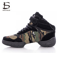 New Camo Brogues Jazz Dance Shoes For Women Soft Bottom Comfortable Breath Modern Dancing Shoes Ladies Gymnastics Sneakers