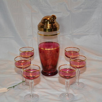 Art Deco Cranberry Flashed Cocktail Shaker and Glass Set