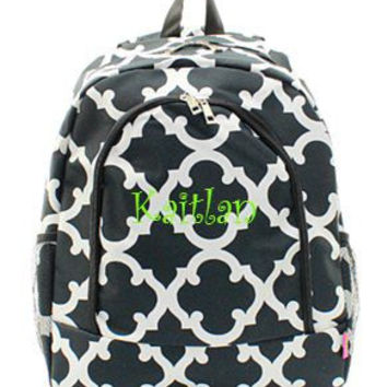 Monogrammed Quatrefoil Backpack Personalized Back Pack Black Quatrefoil Backpack