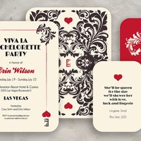 Las Vegas Bachelorette Party Invite (Round Corners) - Quantity 25 with Two Card Inserts