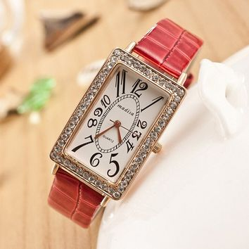 Women's Rectangular Face Rhinestone Watches with Leather Band Strap Red