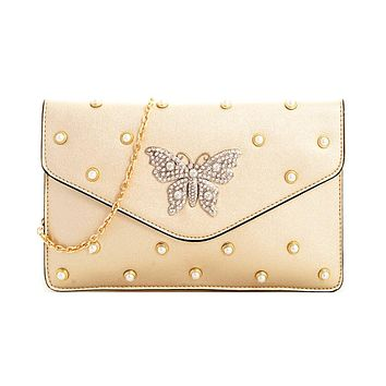 Pearl Studded Butterfly Clutch