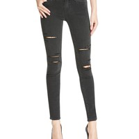 PAIGEVerdugo Ultra Skinny Jeans in Black Fog Destructed