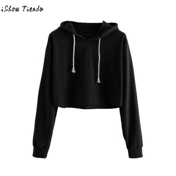 Crop Love Yourself Tear Fake Love Kpop Long Sleeve Cropped Hoodies Sweatshirt Women Cat Hooded Pullover Crop Tops Clothes#GHC