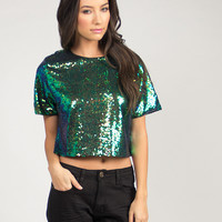 Sequin Loose Cropped Tee
