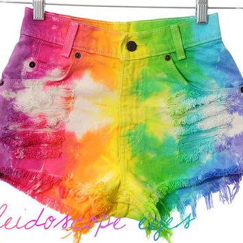 Vintage Levis RAINBOW Tie Dyed Denim Destroyed High Waist Cut off Shorts XXS XS