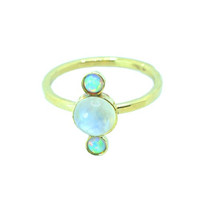 Aurora Ring - Rainbow Moonstone & Opal