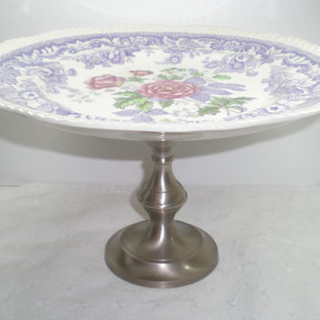 Spode Cake Stand / Mayflower pattern / Pink flower / Cupcake Stand / Purple Centerpiece silver base / Upcycled / Spring wedding / Brunch
