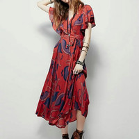 V-neck Shaped Leaf Bohemia Floral Print Prom Dress One Piece Dress [6186057668]