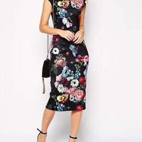 Black Floral Pattern Pencil Midi Dress
