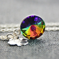 Crystal Vitrail Medium Swarovski Necklace Sterling Silver Clover Charm Green Violet Yellow Orange Pendant Necklace Jewelry