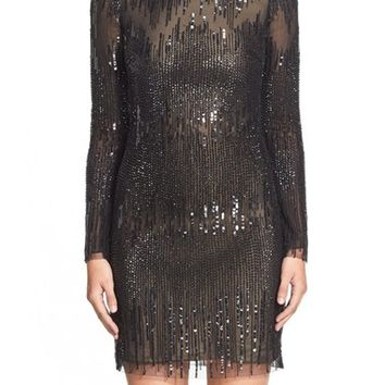 Women's Monique Lhuillier Beaded Shift Dress ,