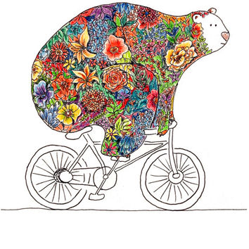 Bear on Bike Watercolor, Cute bear, Bicycle Art, Colorful bear, Flower bear, Woodland Creatures 8x10 print by Monica Martino