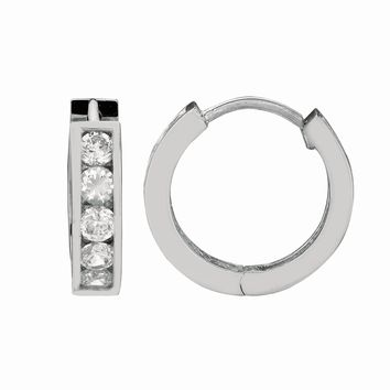 Silver with Rhodium Finish Shiny 4.0X13mm Clear Cubic Zirconia Huggie Earring