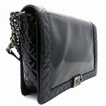 Chanel Patent Leather Quilted Boy Flap-35cm Chain Shoulder Bag Black