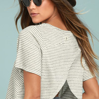 Billabong Wound Up Black and White Striped Crop Top
