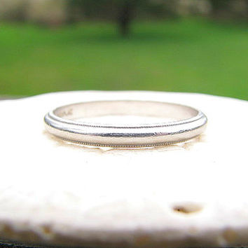 Art Deco Wedding Band, Elegant Classic Platinum Ring with Milgrain Edges, Womens or Mens Band, Circa 1920s to 1930s