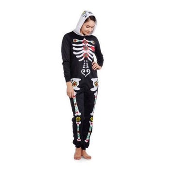 Secret Treasures Women's Sleepwear Bodysuit, Skeleton Print, 2X