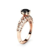 Black Diamond Engagement Ring Rose Gold Ring Filigree Designed Solitaire Engagement Ring