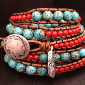Southwestern Turquoise And C Beaded Leather Wrap Bracelet With Sterling Silver Fea